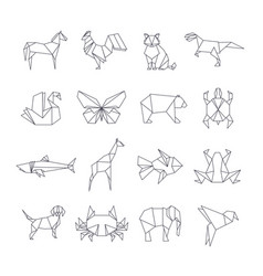 japanese origami paper animals line icons vector image