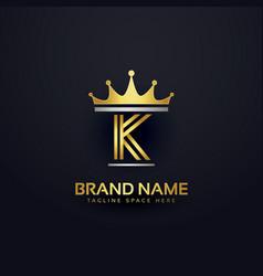 Letter k premium logo with golden crown vector