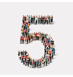 People form number five vector