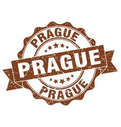 Prague round ribbon seal vector