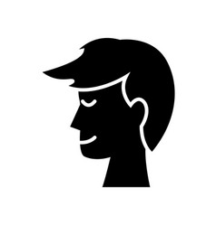 Profile head man male hairstyle silhouette vector