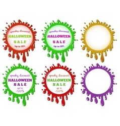 Set of halloween sale stains vector