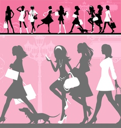 Shopping woman vector image