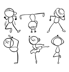 Six different kinds of dance moves vector image vector image