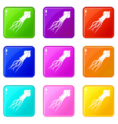 Squid icons 9 set vector