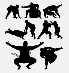 Sumo japanese fighting male sport silhouette vector image vector image