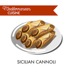 Sweet sicilian cannoli sprinkled with powder on vector