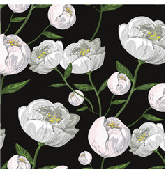 White peony realistic seamless pattern on black vector