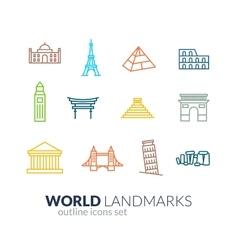 World landmarks outline icons set vector
