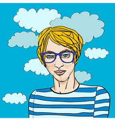 young hipster vector image