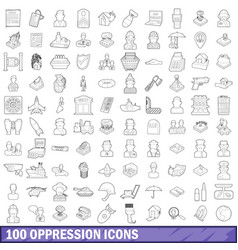100 oppression icons set outline style vector