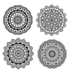 Black indian mandala set vector