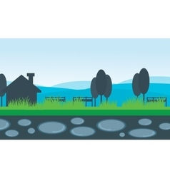 Scenery house and mountain backgrounds vector