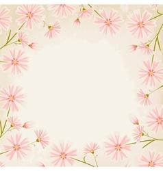 Pink daisy flowers border design element vector image