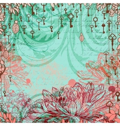 Vintage background with chrysanthemum flowers and vector image