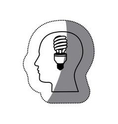 Sticker black contour human face with fluorescent vector