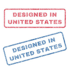 Designed in united states textile stamps vector