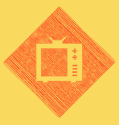 tv sign   red scribble icon vector image