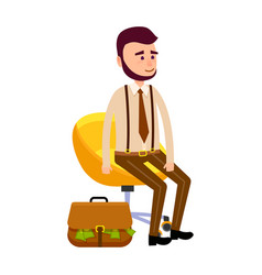 Young hipster sitting on yellow chair money bag vector