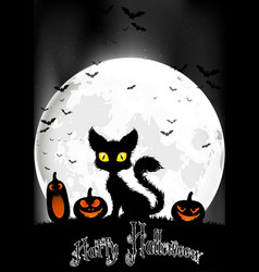 Halloween background with cat and pumpkins vector