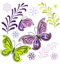 set butterflies and butterflies vector image