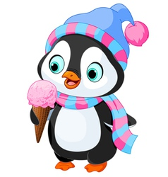 Penguin eats an ice cream vector image