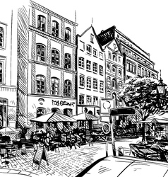 City hand drawn cafe sketch vector