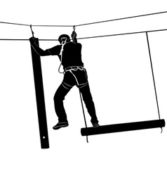 Adventure park rope ladder vector