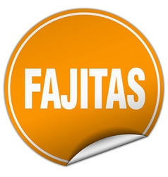 Fajitas round orange sticker isolated on white vector