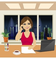 Beautiful woman in office talking on phone vector