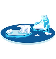 Polar bears on an iceberg on a flat circle vector image