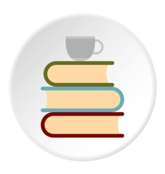 Books and cup of tea icon flat style vector