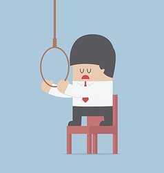 Businessman thinking to suicide with hanging rope vector image