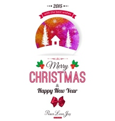 Christmas typographical background watercolor vector