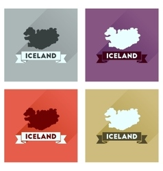 Concept flat icons with long shadow iceland map vector