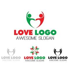 Couples team heart logo design vector