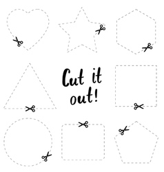Cut it out flat template the scissors icon cut vector