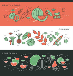 Digital green black red vegetable icons vector