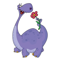dinosaur and flower vector image