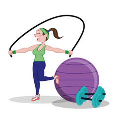 Fitness woman jumping rope and fitball dumbbell vector