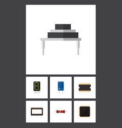flat icon appliance set of microprocessor cpu vector image vector image