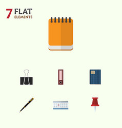 Flat icon tool set of nib pen notepaper paper vector