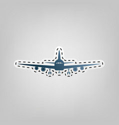 Flying plane sign front view blue icon vector