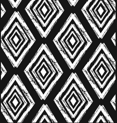 hand drawn seamless tribal pattern in black and vector image vector image