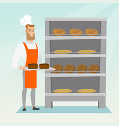 Happy young baker holding a tray with bread vector