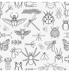 Insects seamless pattern 24 pieces in set vector