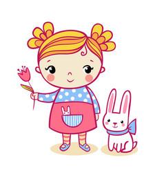 little girl holding a flower vector image