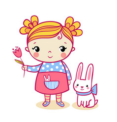little girl holding a flower vector image vector image