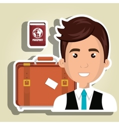 man suitcase travel location vector image