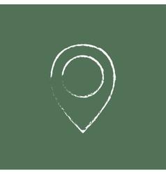Map pointer icon drawn in chalk vector